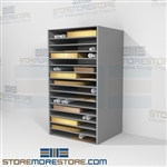 Shelving for solander cases perfect for historic library archives these large metal racks have adjustable horizontal shelves that are the perfect size for stacking large posters, maps, or storing hollinger boxes flat without stacking on the shelves