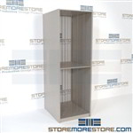 Racks for storing canvas artwork in steel shelving units stores framed art paintings for galleries, businesses, art studios, and schools providing a safe place for expensive framed art or stretched canvases away from rodents and water.