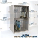 Shelving for storing unused company fine artwork in storage racks for canvas and framed paintings to keep organized and protect against excessive direct light, dirt, rodents, and water damage. Made in U.S.A.
