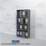 4 Post Metal Office Binder Shelving 64 inches tall Four Levels Wall Unit