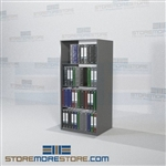 "Free Standing Shelves Adjustable Medical Binder Shelving 64"" High Starter Unit"