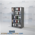 "Shelving Unit Binder Storage Racks 2 Sided Units 5 Openings 76"" High"