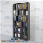 Office File Shelving Binder Storage Steel Four Post 6 Openings Wall Unit