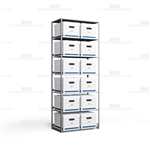 Steel box shelving for letter and legal record storage boxes