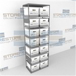 Metal box racks for letter size and legal size record storage boxes shelving shelves and cabinets