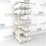 Record box storage shelving for letter size and legal size record file boxes for organizing record boxes on shelves