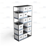 Steel file box racks for letter and legal record storage filing boxes