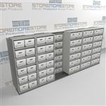 Rolling Two Rows Deep Archival File Box Shelves Moves Left to Right on Rails | SMSB065BX-4P6