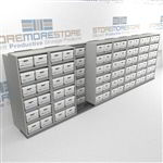 Compact Sliding Archival File Box Storage Shelving Slides Side-To-Side On Rails | SMSB087BX-4P6