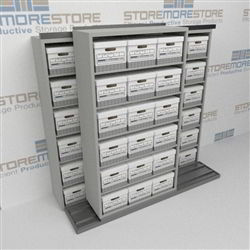 Box Storage Shelving Sliding Sideways on Rails Storing Boxed Archives Records | SMSB221BX-4P6