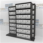 Rolling Shelves for Storing Record Boxes | File Box Storage Shelving on Rails | SMSB221BX-4P7