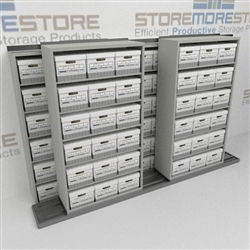 Storing Letter Legal File Boxes | Sliding Shelving for Archive Record Box Storage | SMSB232BX-4P6