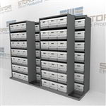 Rolling Shelving Storing Letter Legal Record Boxes on Sliding Track Shelves | SMSB232BX-4P7