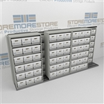 Sideways Sliding File Box Racks on Tracks | Record Boxes Stored on Moving Shelves | SMSB243BX-4P6