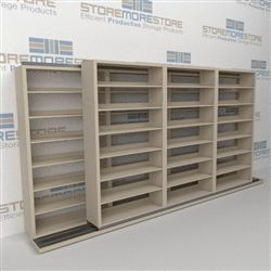 "Double Deep (Four Post) Sliding Mobile File Shelving, 4/3 Letter-Size (14' 4"" W x 2' 2-1/2"" D x 6' 9-3/4"" H with 7 levels), #SMS-25-B243LT4P7"