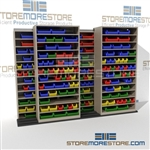 Rolling High Capacity Parts Bin Shelving