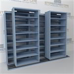 "Double Deep (Four Post) Sliding Mobile File Shelving, 3/2 Legal-Size (9' 4"" W x 2' 8-1/2"" D x 6' 9-3/4"" H with 7 levels), #SMS-25-B632LG4P7"