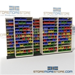 Sideways Sliding Parts Bin Shelving