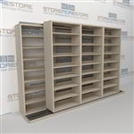 "Double Deep (Four Post) Sliding Mobile File Shelving, 4/3 Legal-Size (12' 4"" W x 2' 8-1/2"" D x 7' 9-3/4"" H with 8 levels), #SMS-25-B643LG4P8"