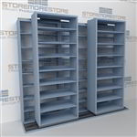 "Double Deep (Four Post) Sliding Mobile File Shelving, 3/2 Legal-Size (12' 4"" W x 2' 8-1/2"" D x 7' 9-3/4"" H with 8 levels), #SMS-25-B832LG4P8"