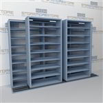 "Double Deep (Four Post) Sliding Mobile File Shelving, 3/2 Letter-Size (12' 4"" W x 2' 2-1/2"" D x 7' 9-3/4"" H with 8 levels), #SMS-25-B832LT4P8"