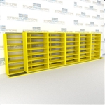 "Double Deep (Four Post) Sliding Mobile File Shelving, 6/5 Legal-Size (24' 8"" W x 2' 8-1/2"" D x 6' 9-3/4"" H with 7 levels), #SMS-25-B865LG4P7"