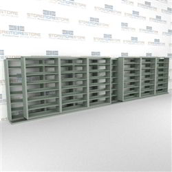 "Double Deep (Four Post) Sliding Mobile File Shelving, 7/6 Letter-Size (28' 4"" W x 2' 2-1/2"" D x 6' 9-3/4"" H with 7 levels), #SMS-25-B876LT4P7"