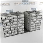 Sideways Shifting Shelves for Record Box Storage | Storing File Boxes On Tracks | SMSQ065BX-4P7