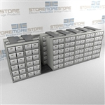 Metal Archive File Box Shelves on Wheels Moving on Tracks Storing Record Boxes | SMSQ087BX-4P6
