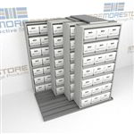Space Saving Onsite Record Box File Storage Shelves Rolling on Tracks | SMSQ221BX-4P7