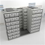 Sliding Record Box Storage Shelves Four Rows Deep Storing Archival Dead Files | SMSQ232BX-4P7