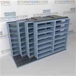 "4-Row Deep (Four Post) Sliding Mobile File Shelving, 3/2/2/2 Legal-Size,(10' 10"" W x 5' 6-1/2"" D x 6' 11-3/4"" H with 7 levels), #SMS-25-Q232LG-4P7"