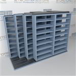 "4-Row Sliding (Four Post) Mobile File Shelving, 3/2/2/2 Letter-Size,(10' 10"" W x 4' 6-1/2"" D x 7' 10-3/4"" H with 8 levels), #SMS-25-Q232LT-4P8"