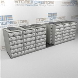 Lateral Moving File Box Shelves Rolling on Floor Rails | Archive Box Storage | SMSQ276BX-4P6