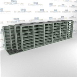"4-Row Deep (Four Post) Sliding Mobile File Shelving, 7/6/6/6 Legal-Size,(25' 2"" W x 5' 6-1/2"" D x 6' 11-3/4"" H with 7 levels), #SMS-25-Q276LG-4P7"
