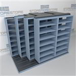 "4-Row Deep (Four Post) Sliding Mobile File Shelving, 3/2/2/2 Legal-Size,(9' 4"" W x 5' 6-1/2"" D x 6' 11-3/4"" H with 7 levels), #SMS-25-Q632LG-4P7"