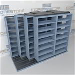 "4-Row Deep (Four Post) Sliding Mobile File Shelving, 3/2/2/2 Letter-Size,(9' 4"" W x 4' 6-1/2"" D x 6' 11-3/4"" H with 7 levels), #SMS-25-Q632LT-4P7"