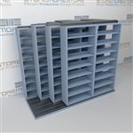 "4-Row Deep (Four Post) Sliding Mobile File Shelving, 3/2/2/2 Letter-Size,(9' 4"" W x 4' 6-1/2"" D x 7' 11-3/4"" H with 8 levels), #SMS-25-Q632LT-4P8"