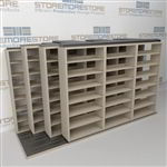 "4-Row Deep (Four Post) Sliding Mobile File Shelving, 4/3/3/3 Letter-Size,(12' 4"" W x 4' 6-1/2"" D x 6' 11-3/4"" H with 7 levels), #SMS-25-Q643LT-4P7"