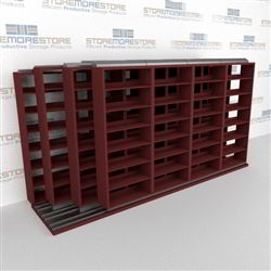 "4-Row Deep (Four Post) Sliding Mobile File Shelving, 5/4/4/4 Letter-Size,(15' 4"" W x 4' 6-1/2"" D x 6' 11-3/4"" H with 7 levels), #SMS-25-Q654LT-4P7"