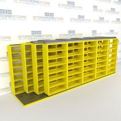 "4-Row Deep (Four Post) Sliding Mobile File Shelving, 6/5/5/5 Letter-Size,(18' 8"" W x 4' 6-1/2"" D x 6' 11-3/4"" H with 7 levels), #SMS-25-Q665LT-4P7"