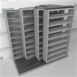 "4-Row (Four Post) Sliding Mobile File Shelving, 2/1/1/1 Letter-Size,(8' 4"" W x 5' 6-1/2"" D x 7' 10-3/4"" H with 8 levels), #SMS-25-Q821LT-4P8"