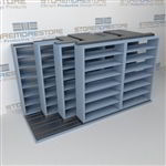 "4-Row Deep (Four Post) Sliding Mobile File Shelving, 3/2/2/2 Legal-Size,(12' 4"" W x 5' 6-1/2"" D x 6' 11-3/4"" H with 7 levels), #SMS-25-Q832LG-4P7"