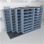 "4-Row Deep (Four Post) Sliding Mobile File Shelving, 3/2/2/2 Legal-Size,(12' 4"" W x 5' 6-1/2"" D x 7' 10-3/4"" H with 8 levels), #SMS-25-Q832LG-4P8"