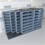 "4-Row (Four Post) Sliding Mobile File Shelving, 3/2/2/2 Letter-Size,(12' 4"" W x 4' 6-1/2"" D x 6' 11-3/4"" H with 7 levels), #SMS-25-Q832LT-4P7"