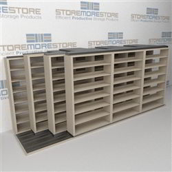 "4-Row (Four Post) Sliding Mobile File Shelving, 4/3/3/3 Letter-Size,(16' 4"" W x 4' 6-1/2"" D x 6' 11-3/4"" H with 7 levels), #SMS-25-Q843LT-4P7"