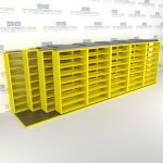 "4-Row Deep (Four Post) Sliding Mobile File Shelving, 6/5/5/5 Legal-Size,(24' 8"" W x 5' 6-1/2"" D x 7' 10-3/4"" H with 8 levels), #SMS-25-Q865LG-4P8"