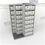 Three Deep Box Shelving Units Rolls Sideways on Rails Storing Boxes of Files | SMST021BX-4P7