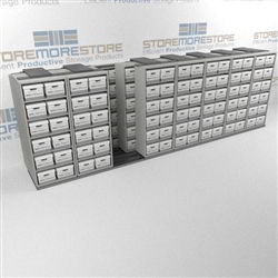Storing Archival Record Boxes in Rolling Shelves | Rolling File Box Shelving | SMST087BX-4P6