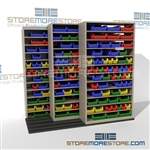 Storing Plastic Bins on Sliding Shelving